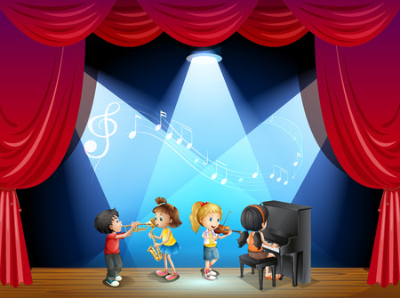 show: Children playing musical instrument on stage illustration