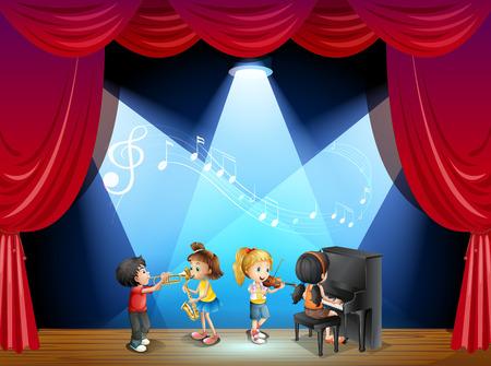 Kinder spielen Musikinstrument auf der Bühne Illustration Standard-Bild - 44844140