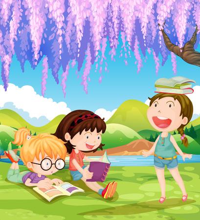 Children reading books under the tree illustration
