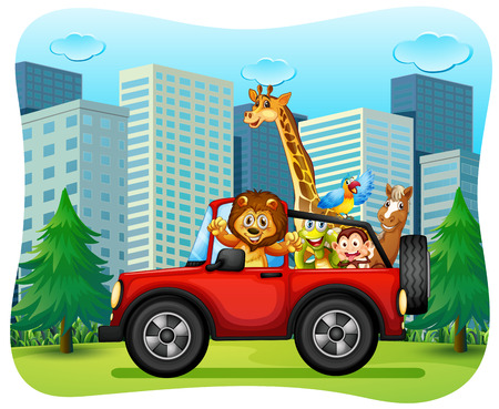 jeep: Wild animals riding on red jeep illustration Illustration
