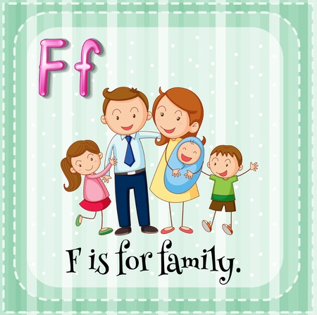 family picture: Flashcard letter F is for family illustration