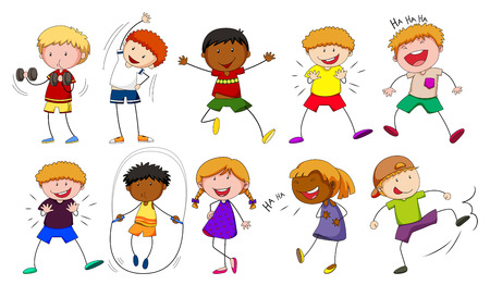 boy smiling: Boys and girls doing different activities illustration Illustration