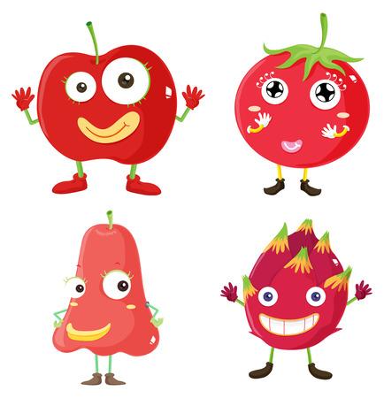 fruit du dragon: Fresh fruits in red illustration