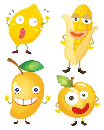 elote caricatura: Las frutas y verduras de color amarillo ilustración Vectores