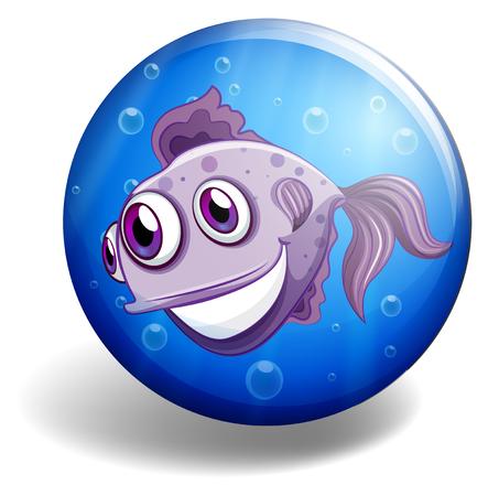 sea monster: Sea monster swimming on blue badge illustration Illustration