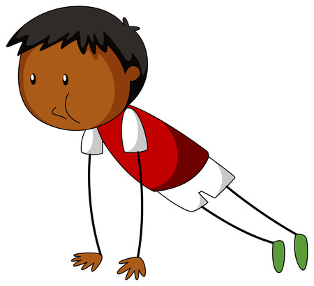 working out: Little boy doing push up illustration