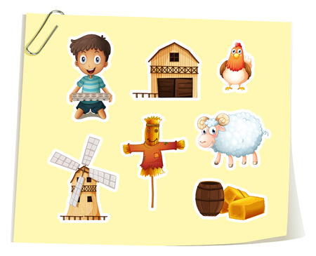 farm animal: Farm set with boy and farm objects illustration
