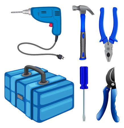multiple objects: Construction tools and box illustration