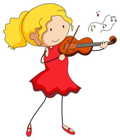 red dress: Girl in red dress playing violin illustration