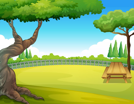 picnic park: Picnic table in the park illustration Illustration