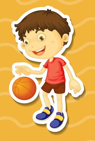 smile close up: Little boy playing basketball illustration