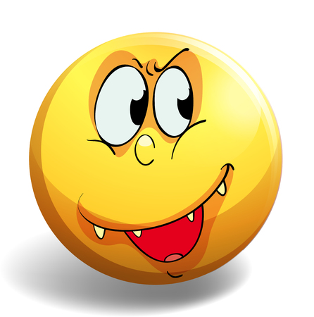 silly: Silly face on yellow badge illustration