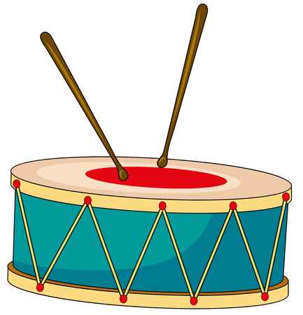 wooden circle: Drum with wooden sticks illustration