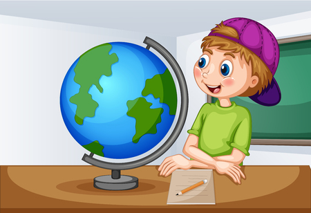 world atlas: Boy looking at globe in classroom illustration