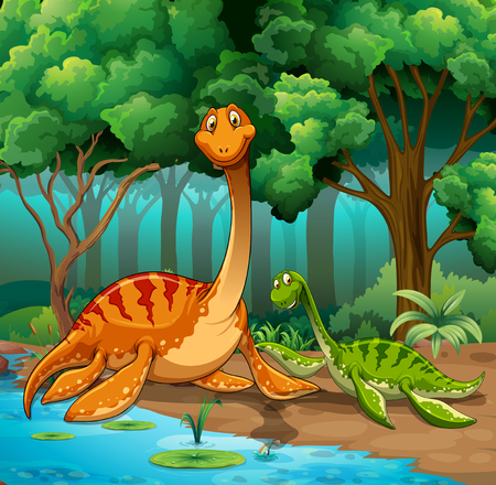 Dinosaurs living in the jungle illustration