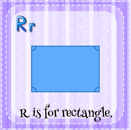r image: Flashcard alphabet R is for rectangle illustration