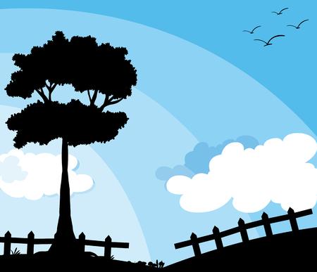 nature silhouette: Silhouette nature scene with tree illustration Illustration
