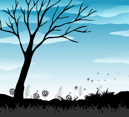 dry land: Silhouette field with blue sky illustration Illustration
