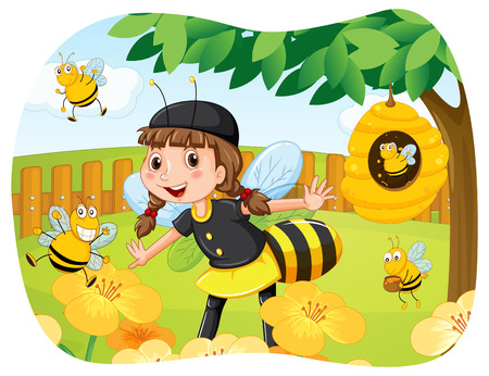a bee: Girl in bee costume playing in the park illustration
