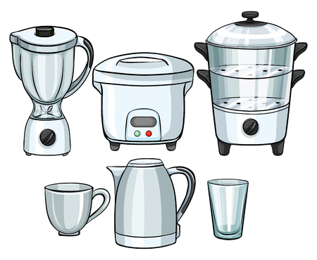 Electronic equipment using in kitchen illustration Illustration