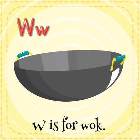 stainless steel pot: Alphabet W is for wok illustration