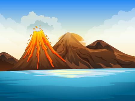 erupting volcano: Volcano eruption by the lake illustration