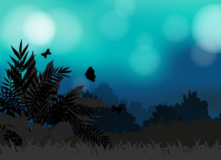 mariposas volando: Campo Silueta de mariposas volando ilustraci�n