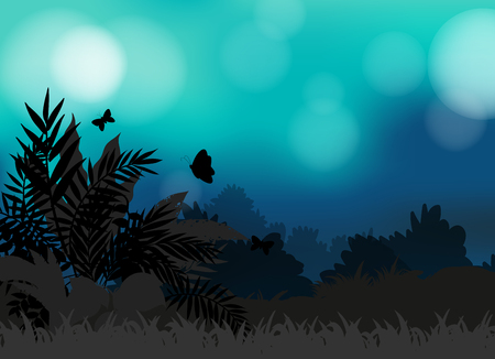 lawn grass: Silhouette field of butterflies flying illustration