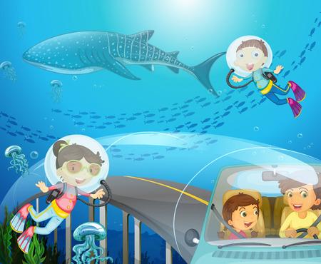 scuba diving: Boy and girl scuba diving under the ocean illustration