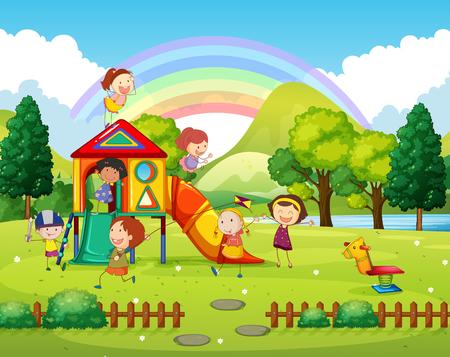 Children playing in the park at daytime illustration Illustration