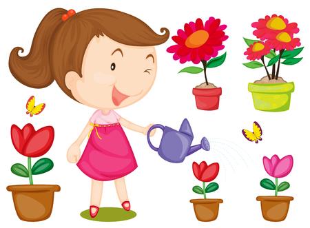 flor caricatura: Niña que riega las flores ilustración Vectores