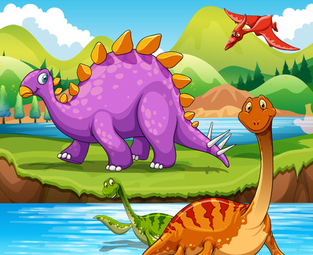 Dinosaurs living by the river illustration