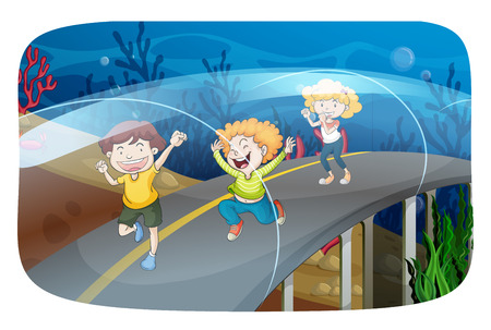 children running: Children running in the tunnel illustration Illustration