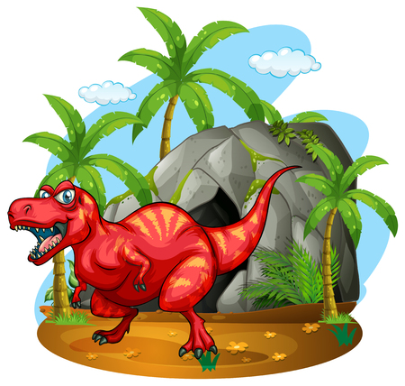 cave: Dinosaur standing in front of the cave illustration Illustration