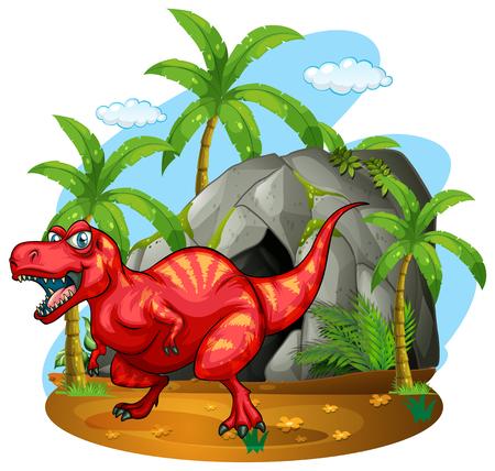cueva: Dinosaurio de pie en frente de la ilustración de la cueva Vectores