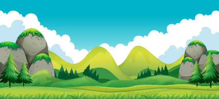 Scene of green field with mountains background illustration Illustration