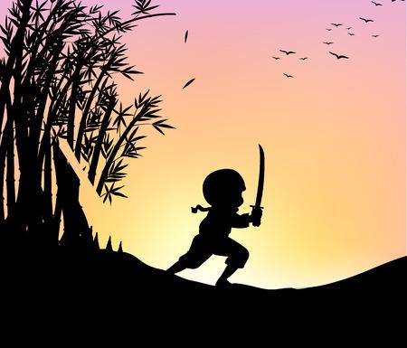 ninja: Silhouette ninja cutting bamboo with sword illustration