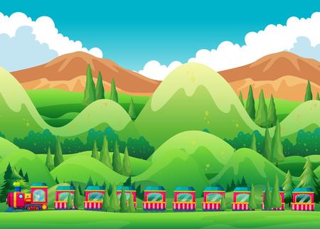alpine plants: Train ride through the green field illustration