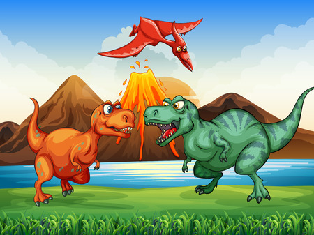 Dinosaurs fighting in the field illustration