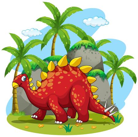dinosaurio caricatura: Dinosaurio caminando en la ilustraci�n de campo