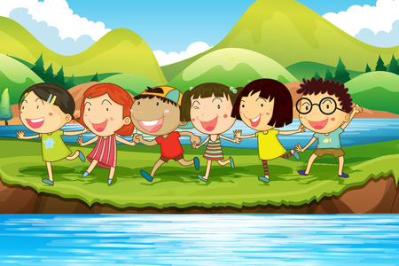 children pond: Children having fun at the pond illustration