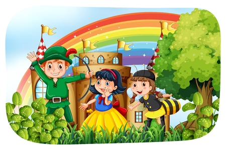 stage costume: Children in costume having fun in the park illustration Illustration
