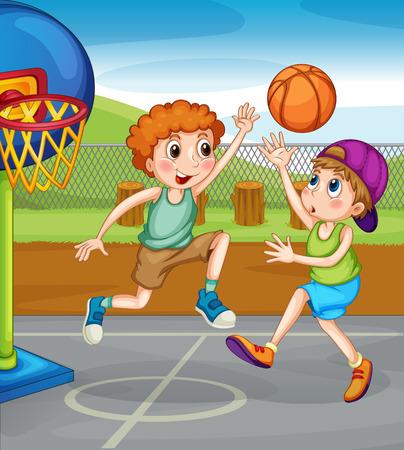 kids outside: Two boys playing basketball outside illustration