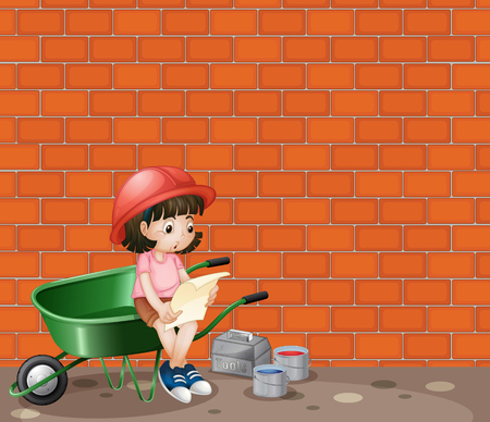 construction site: Girl working at the construction site illustration Illustration