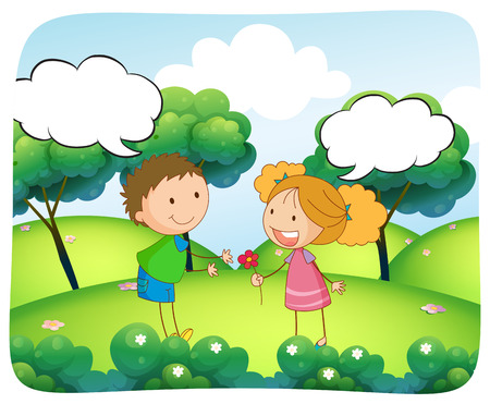 daytime: Boy and girl in the park at daytime illustration Illustration