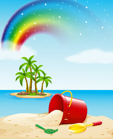 ocean view: Ocean view with toys on the sand illustration Illustration