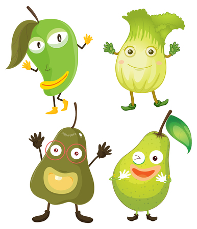 fruit clipart: Fruits and vegetables in green illustration Illustration
