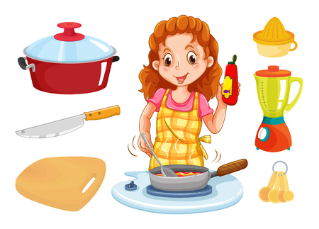 measuring spoon: Woman cooking and kitchenwares illustration
