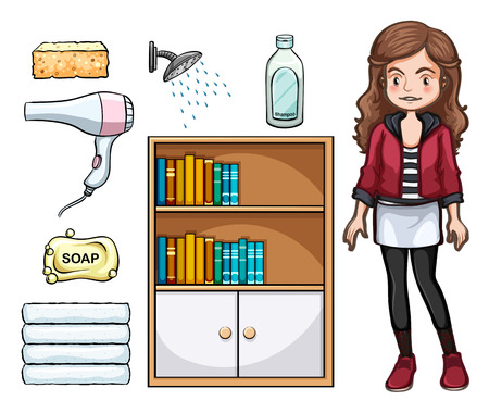 household objects: Woman and household objects illustration Illustration