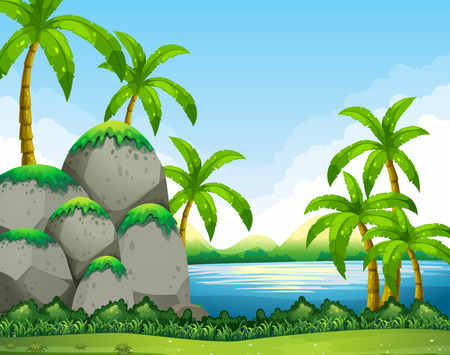 river rock: River scene with field and trees illustration